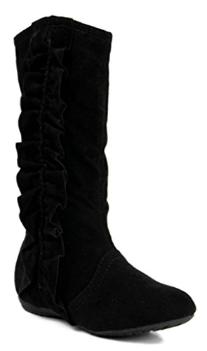Kali Footwear Girls Event Jr Faux Suede Ruffle Boots,Black,11