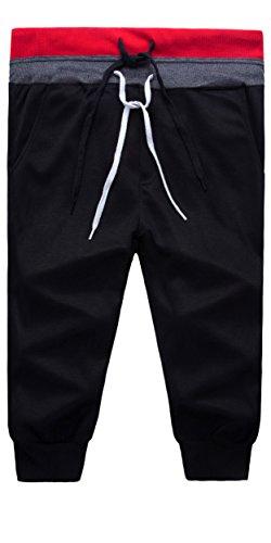 Boy's Skinny Jogging Pants Sport Running Shorts Trousers Black 14