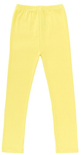 Simplicity Girl's Stretchy Cotton Ankle Length Basic Leggings, Light Yellow, M