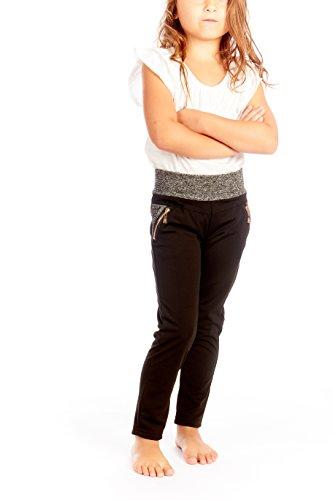 Crush Girls Cut & Sew Fashion Legging Pants With Zippers Black 5-6