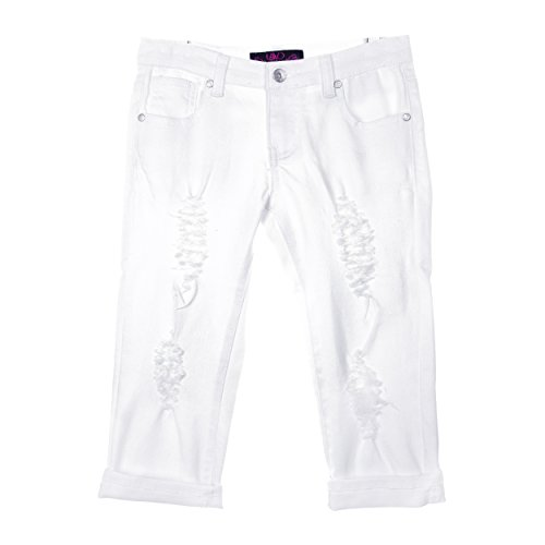 Lavo Girls Super Soft Stretch Fashion Capri Jeans With Rips tears & Whiskers White Denim Size 6X