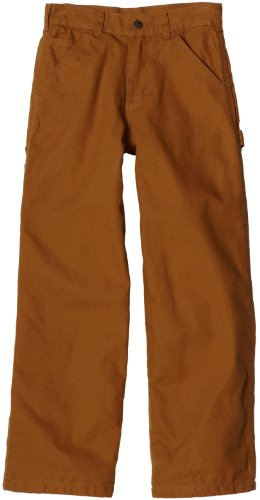 Carhartt Big Boys' Washed Flannel Lined Dungaree Pant, Carhartt Brown, 10