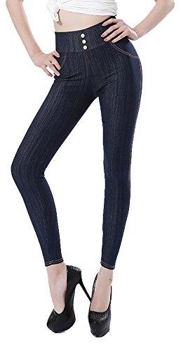 Sipaya Jeans Leggings For Girl's Elastic Waistband Tummy Control Jeggings Pants Blue L