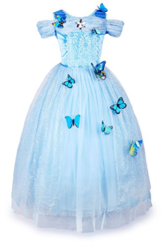 JerrisApparel New Cinderella Dress Princess Costume Butterfly Girl (4 Years, Sky Blue)