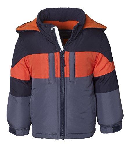 Sportoli Boys' Fleece Lined Hooded Colorblock Winter Puffer Bubble Jacket Coat – Charcoal/Navy (Size 5/6)