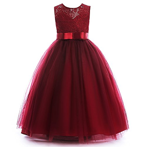 Glamulice Girls Lace Bridesmaid Dress Long A Line Wedding Pageant Dresses Tulle Party Gown Age 3-14Y (5-6Y, Wine Red)