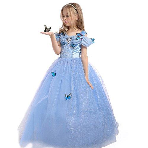 EnjoyFashion Girls' 2015 New Cinderella Dress Princess Costume Butterfly 3-4 Blue