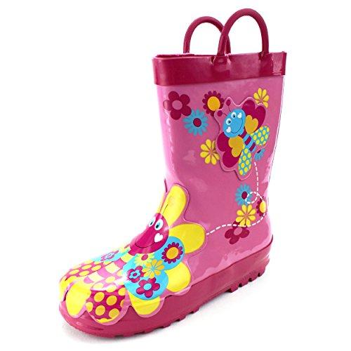 SG Footwear Butterfly Girls Rain Boots (11/12 M US Little Kid, Butterfly Pink)