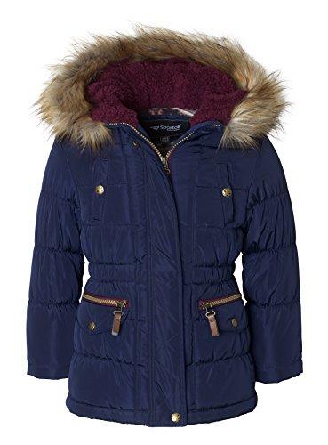 Sportoli Girls' Fashion Anorak Winter Puffer Jacket Coat with Plush Lined Hood – Navy (Size 5/6)