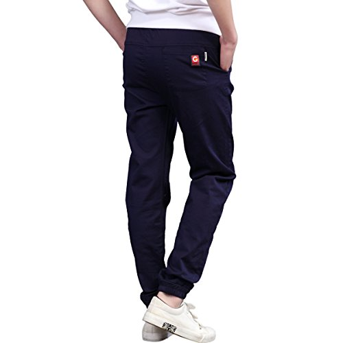 CNMUDONSI Kids Boys Pants Cotton Long Casual Elastic Waist with Drawstring Autumn Teenager Clothing (12T, M705-Navy)