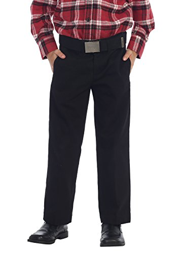 Gioberti Boys Belted Flat Front Twill Pants, Black, 5