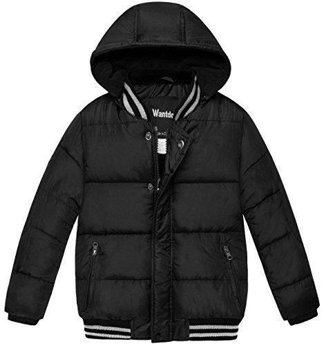 Wantdo Boy's Thicken Warm Coat Hooded Down Alternative Jacket Outdoor Windbreaker(Black, 4/5)
