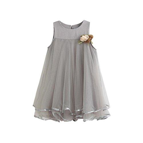 Hemlock Little Girl Chiffon Dress Sleeveless Loose Summer Dress (7T, Grey)