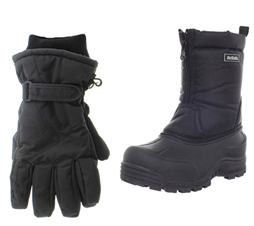 Northside Icicle Snow Boot, Black, 6 M US Big Kid with Matching Gloves