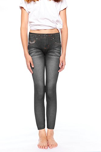 Crush Girls Denim Printed Seamless Leggings- Black 2-4T