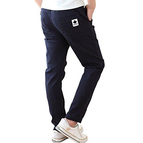 CNMUDONSI Boys Long Slim Elastic Waist Pants in 4 colors( F-M723Navy14T)