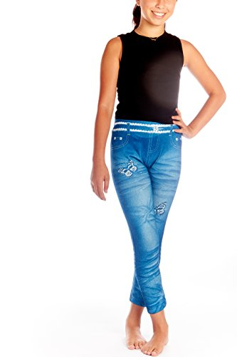 Crush Girls Denim Look Printed Seamless Leggings Navy Size 4-6X