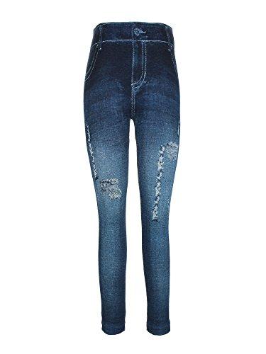 Crush Girls High Waist Printed Distressed Denim Legging Pants Navy 7-16