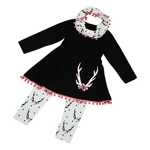 Kintaz 3PCS Little Girls Winter Wildlife Tunic Dress Pants Scarf Outfits Kids Clothes Set (2T)