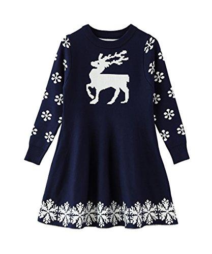 SMILING PINKER Little Girls Christmas Dress Reindeer Snowflake Xmas Gifts Winter Knit Sweater Dresses (5-6, navy blue)