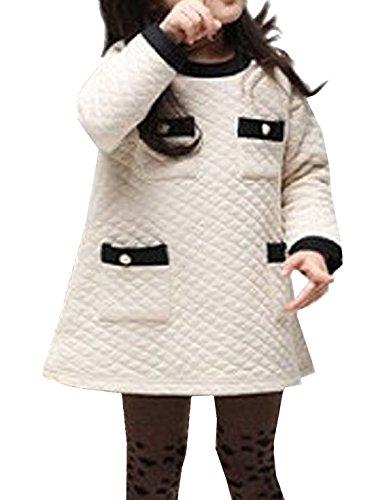 Vijiv Little Girls' Long Sleeve Pockets Sweater Dress, Beige, Small / 2T