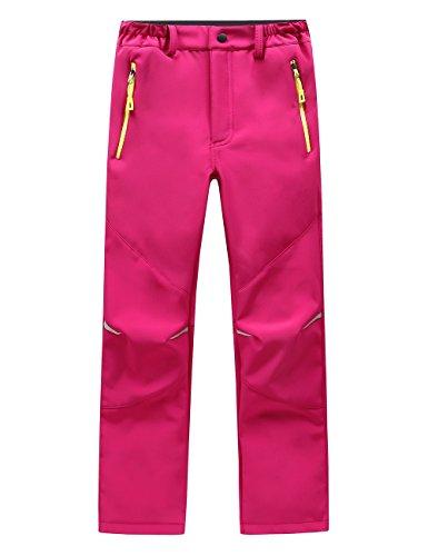 Lanbaosi Kids Boys Girls Waterproof Outdoor Hiking Ski Pants Warm Fleece Lined