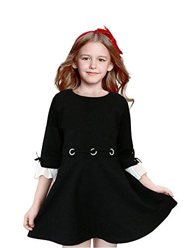 Girls O Neck Flare Long Sleeve Cotton Fashion Pleated Vintage Dresses Black 9T