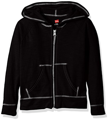 Hanes Big Girls' Slub Jersey Full Zip Jacket, Black, X Large