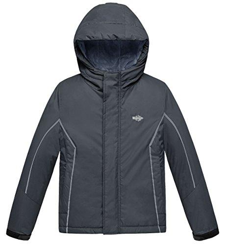 Wantdo Boy's Hooded Rain Jacket with Fleece Lining Windcheater Outdoors Rainwear(Dark Grey, 10/12)