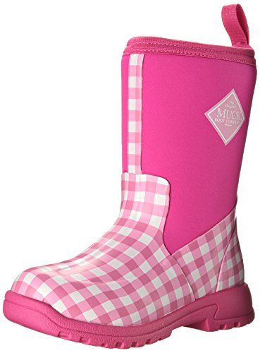 MuckBoots Girls' Breezy Mid Pull-on Boot, Pink Gingham, 11 M US Little Kid
