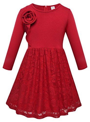 Girls O Neck Long Sleeve 3D Rose Flowers Cotton Pleated Lace Dresses Red 8T