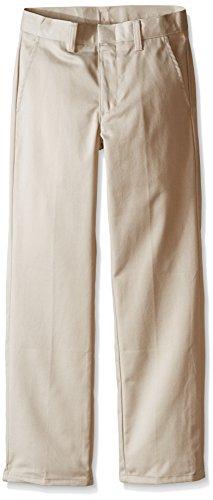 Nautica Big Boys' Uniform Flat Front Pant, Khaki, Large/16