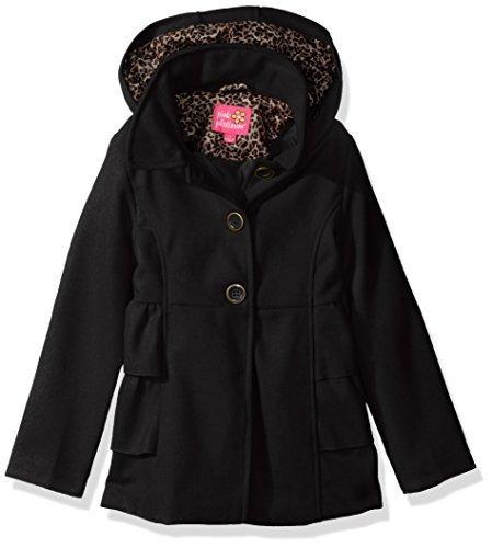 Pink Platinum Big Girls' Side Ruffles Wool Jacket, Black, 10/12