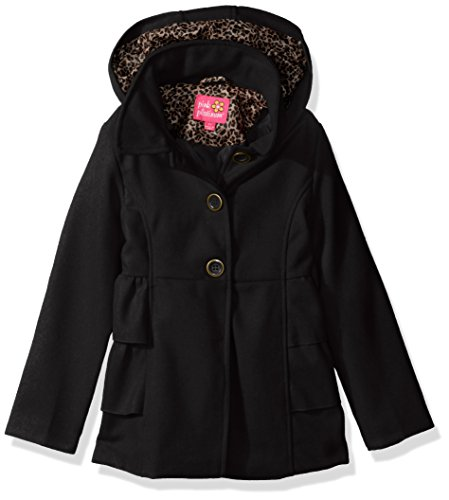 Pink Platinum Big Girls' Side Ruffles Wool Jacket, Black, 7/8
