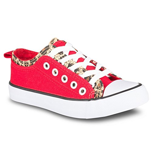 Twisted Girl's Canvas KIX Double Upper Lo-Top Sneaker – RED/LEOPARD, Size 12