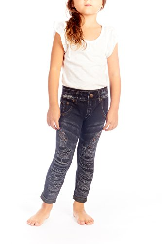 Crush Girls Distressed Seamless Denim Jegging Leggings Navy Size 4 6