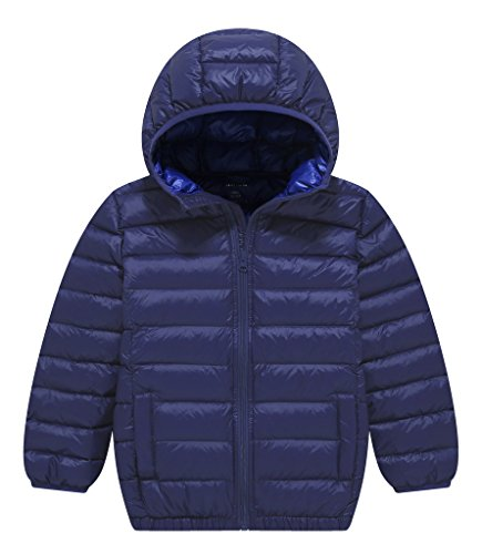 ZSHOW Boy's and Girl's Lightweight Packable Down Jacket Hooded Puffer Winter Jacket Coat,9-10Year,Navy