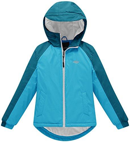 Wantdo Girl's Soft Fleece Lined Winter Jacket Rain Coat With Hood Thick Anorak(Light Blue+Dark Blue, 6/7)