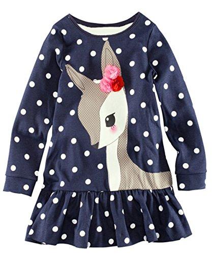 Kidstree(TM) Girl's Deer Pattern Long Sleeve Cotton Dress (5T)