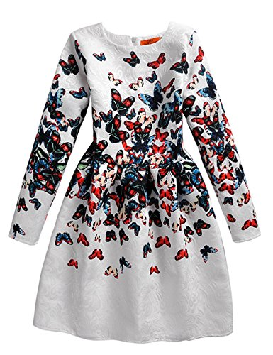 21KIDS Butterfly Print Girl Wedding Party Autumn Long Sleeve-butterfly Dresses,10