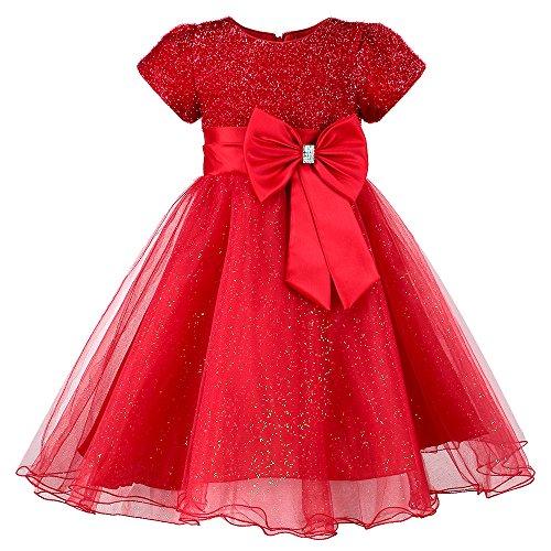 HUANQIUE Little Girls Wedding Flower Girl Dress Princess Pageant Dress Red 5-6 T