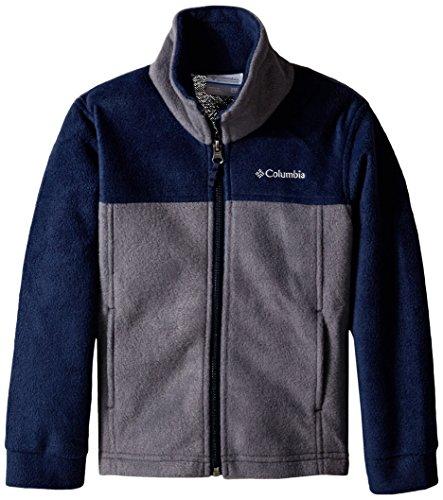 Columbia Boy's Dotswarm Full Zip Jacket, Graphite/Collegiate Navy, Small