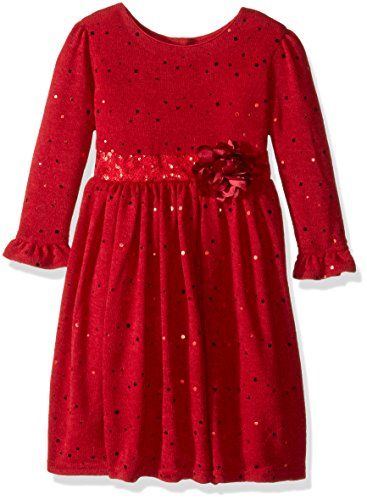 Youngland Little Girls' Sparkle Sweater Knit Dress with Flower Detail, Red, 6