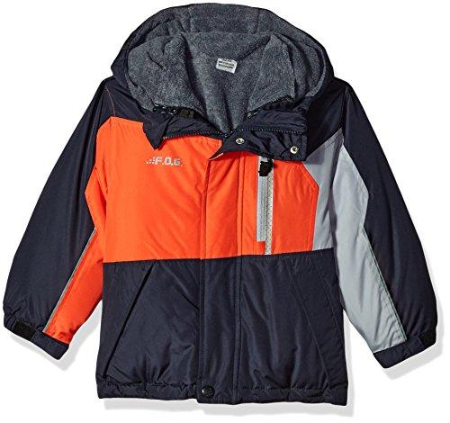 London Fog Big Boys' 4-in-1 System Jacket Winter Coat, Navy/Black/Grey, 8