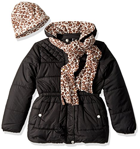Pink Platinum Big Girls' Quilted Puffer With Hat and Scarf, Black, 10/12