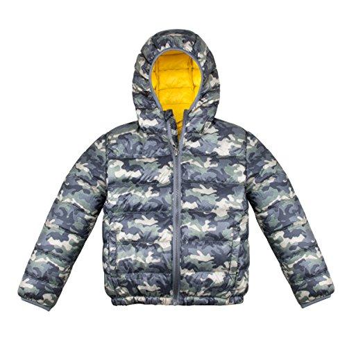 Kids Powder Puffer Jacket, Lightweight Down Jacket Coat, Children Winter Outwear with Hood for Boys Girls, Green, 130
