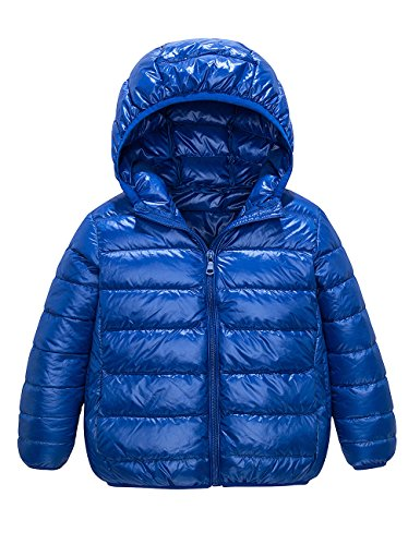 Spring&Gege Boys' Quilted Packable Hoodie Lightweight Puffer Jacket Windproof Outwear Children Warm Duck Down Coat Size 7-8 Years Blue