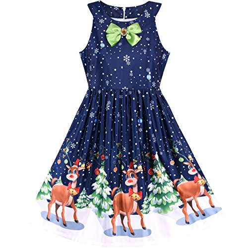 Sunny Fashion LM73 Girls Dress Christmas Eve Christmas Tree Snow Reindeer Party Size 10