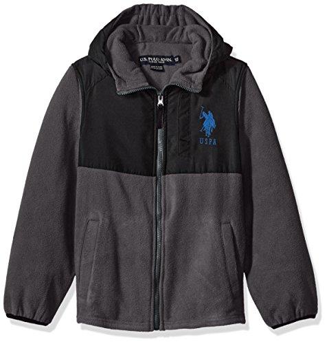 US Polo Association Big Boys' Outerwear Jacket (More Styles Available), UB87-Polar Fleece-Charcoal, 10/12