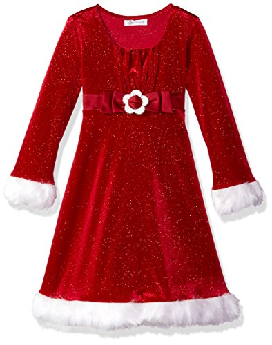 Bonnie Jean Little Girls' Holiday Dresses, Red Buckley, 6